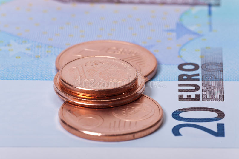 Download Euro coins and bills stock image. Image of economy, commercial - 26255703