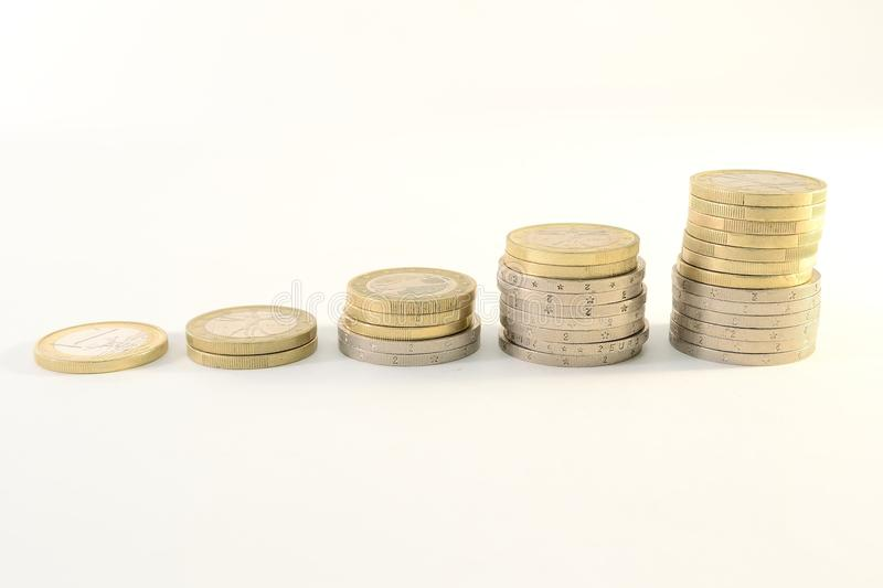 Euro coins chart. Isolated on white background royalty free stock photography