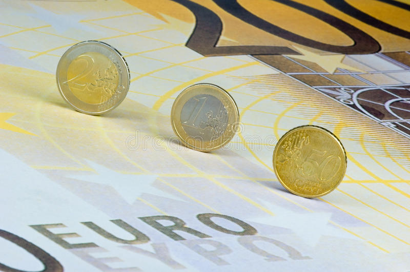 Download Euro-coins On Euro-banknote Stock Photo - Image: 11472440