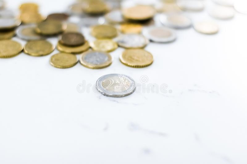 Euro coins, European Union currency royalty free stock photography