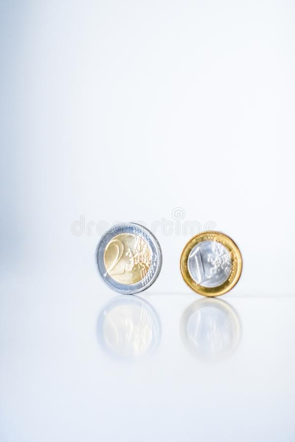 Euro coins, European Union currency stock images