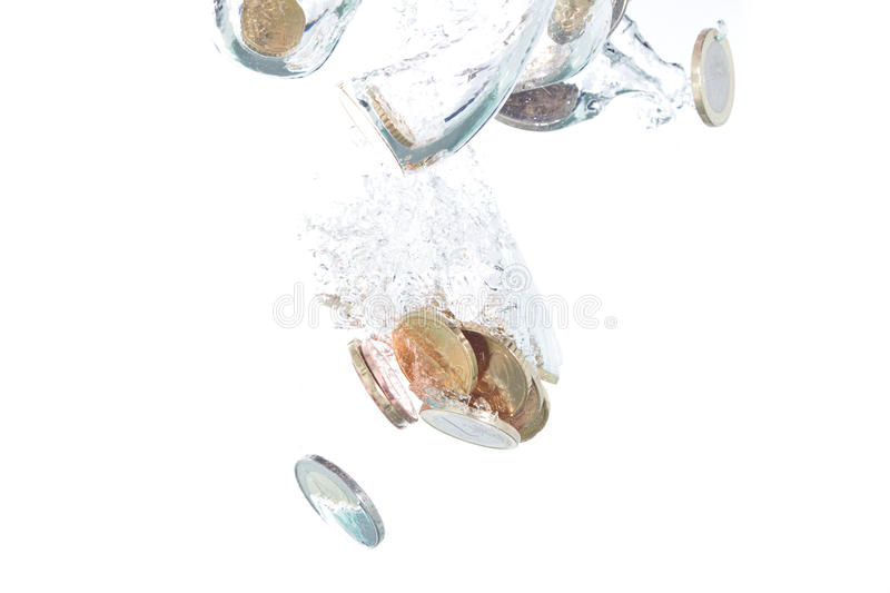 Download Euro Coins Falling Into The Water Stock Image - Image: 12360559