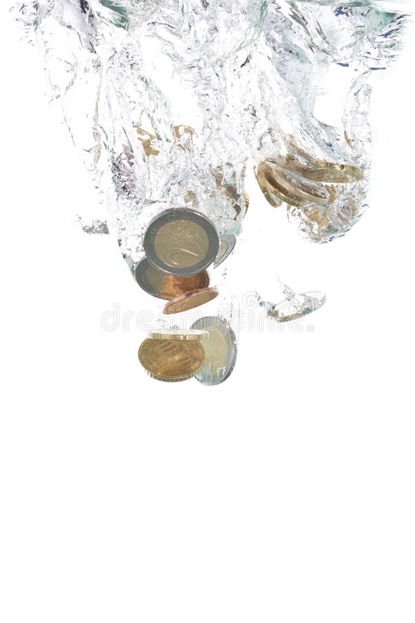 Euro Coins Falling Into The Water Royalty Free Stock Photo