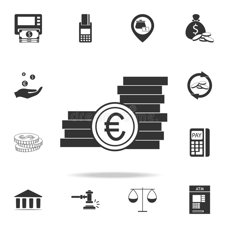 Euro Coins icon. Detailed set of finance, banking and profit element icons. Premium quality graphic design. One of the collection vector illustration