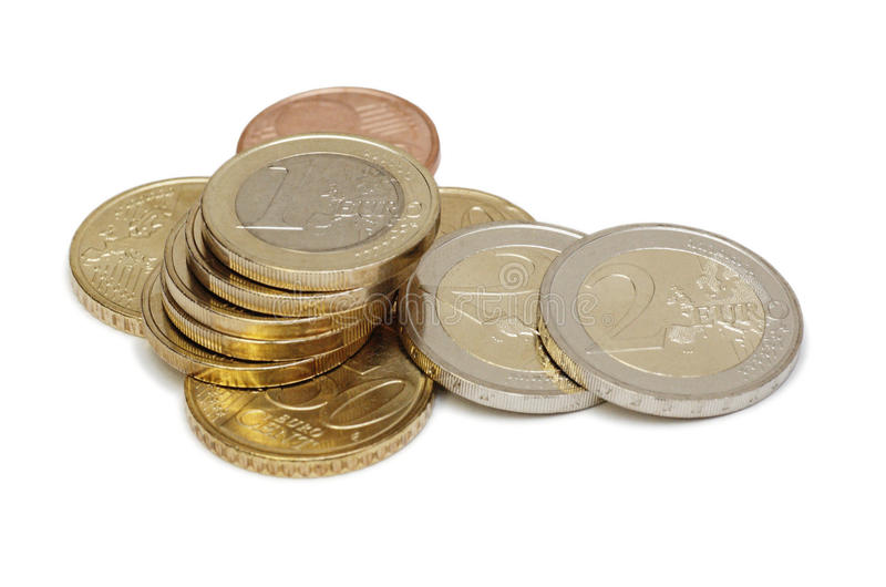 Download Euro coins (isolated) stock photo. Image of change, european - 10858316