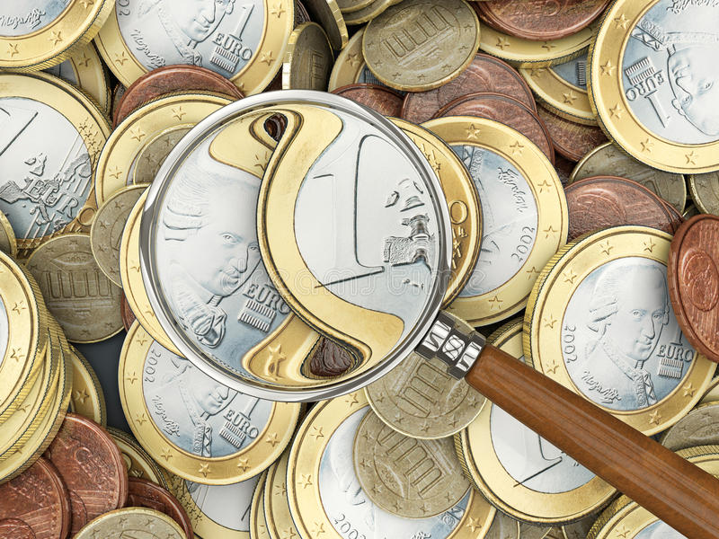 Euro coins with magnifying glass. Analyzing stock illustration