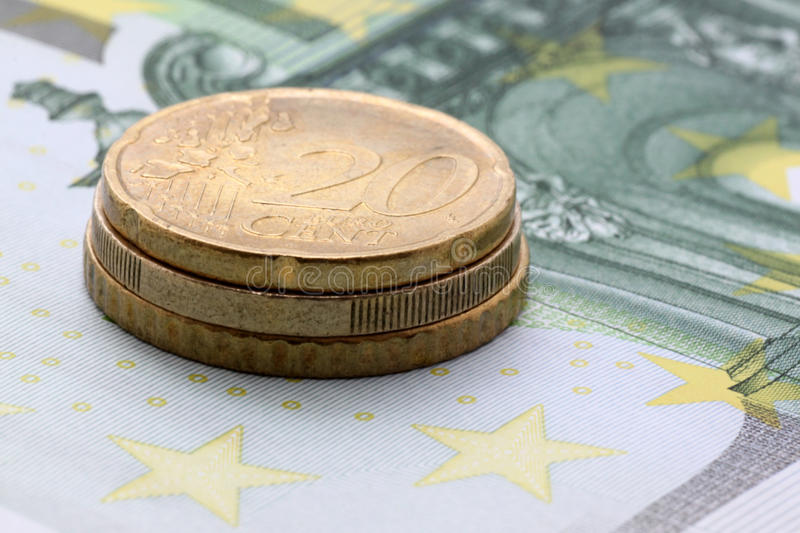 Download Euro Coins On One Hundred Euro Banknote Stock Photo - Image: 20797480