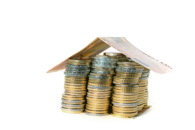 Euro Coins Pile House With Banknote Roof Stock Photography