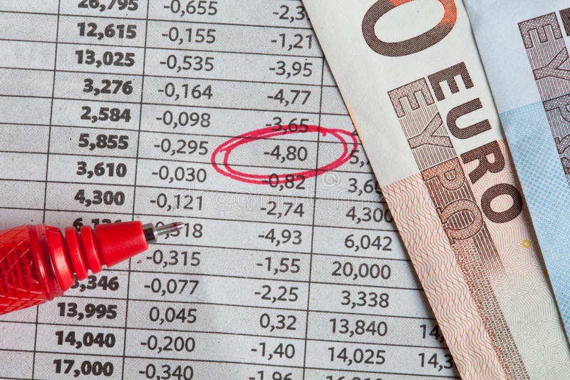 Euro coins and stock exchange results stock photography