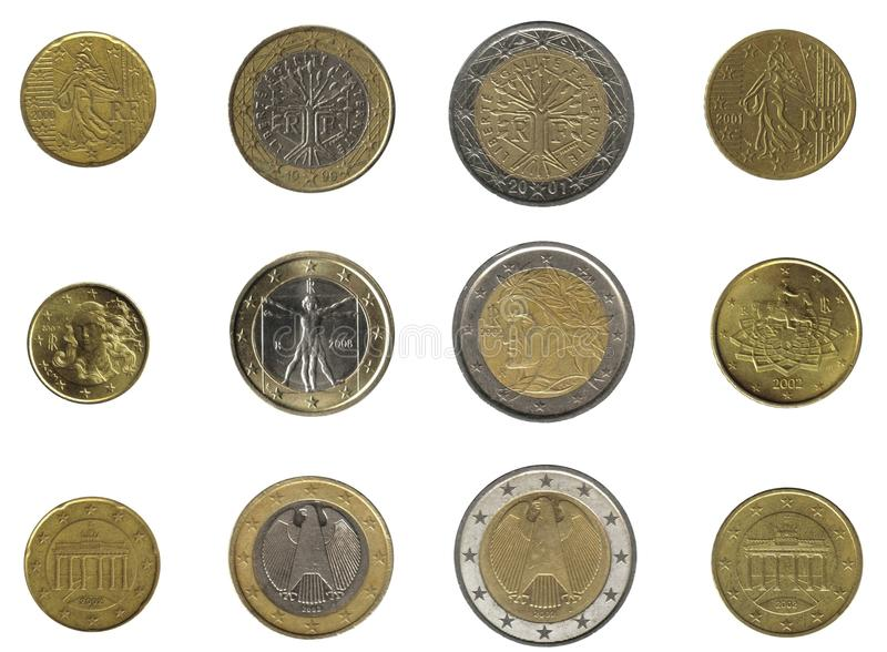 Euro coins from three nations royalty free stock images