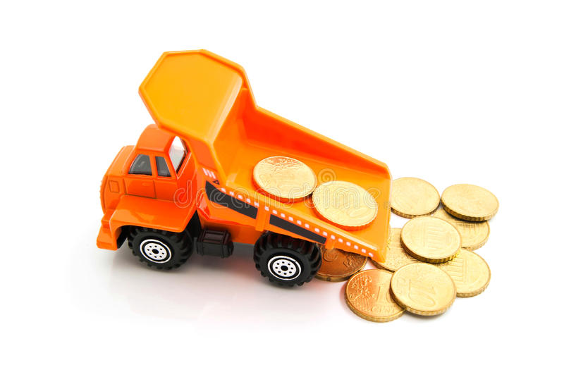 Euro coins and truck. Euro coins and orange truck on white closeup stock images