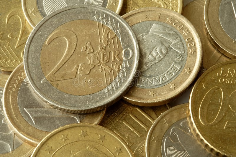 Euro coins wad stock images