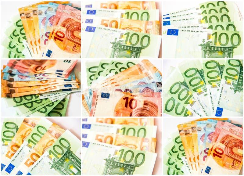 Euro collage delle banconote immagini stock