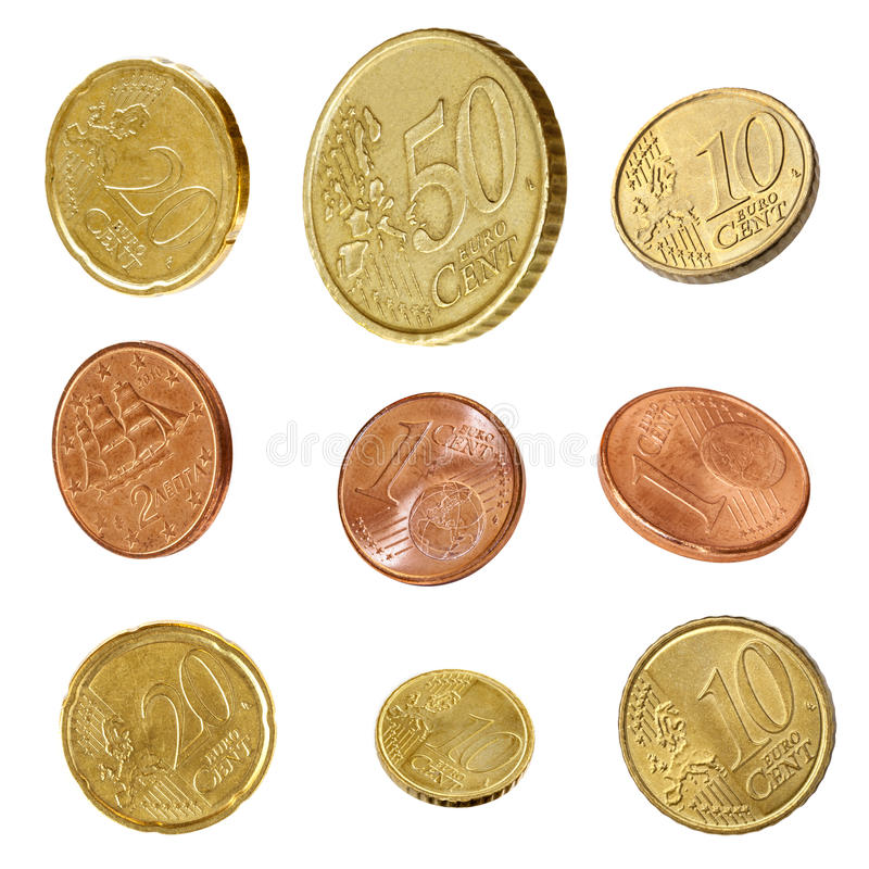 Euro collection de pièces de monnaie d'isolement image stock