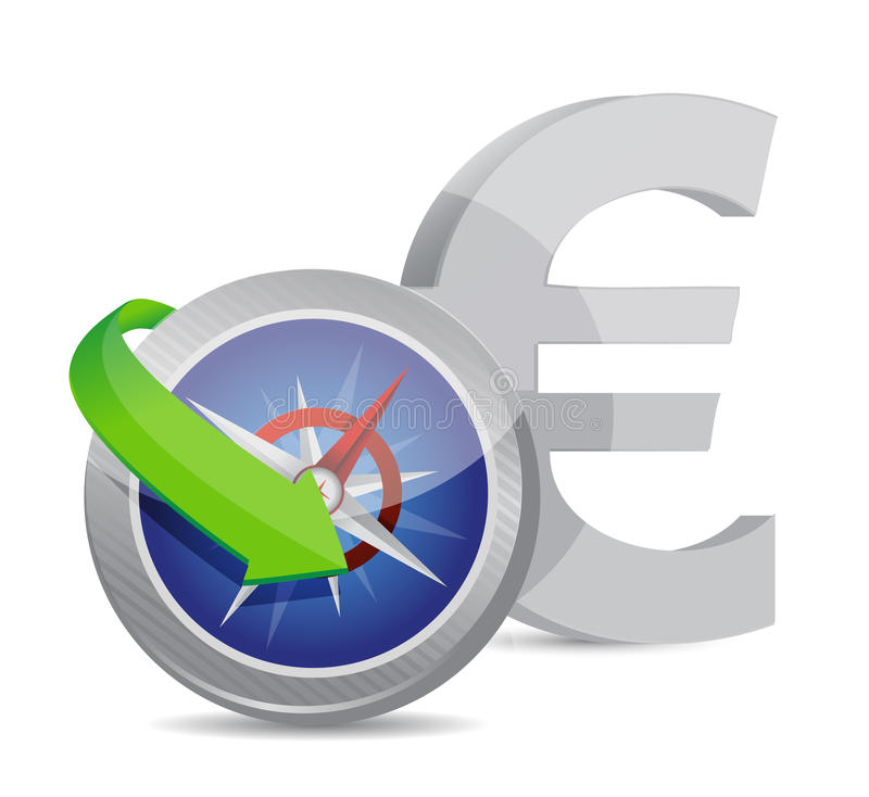 Euro Compass currency exchange direction stock illustration