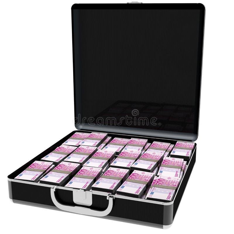 Euro completo dei soldi della valigia nera elegante Lle banconote di 500 fotografia stock libera da diritti