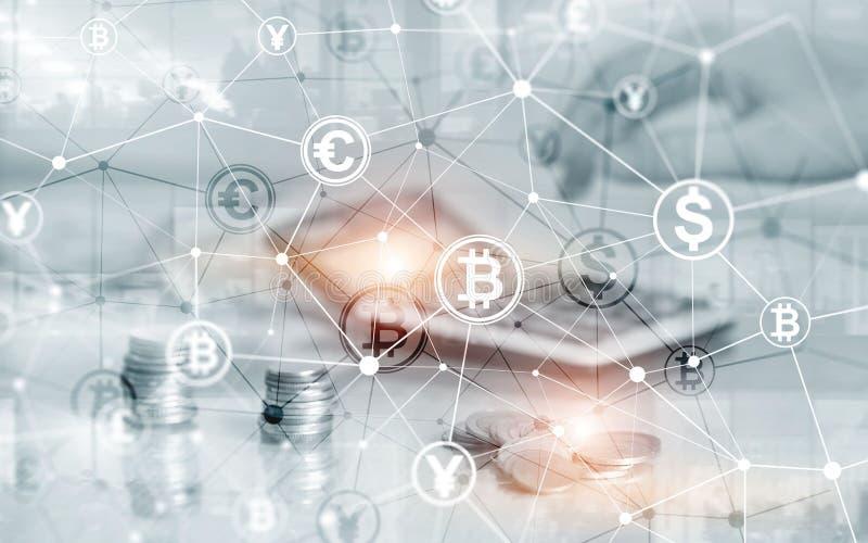 Euro concept d'argent de Web de finances du dollar de Bitcoin oins sur la double exposition d'?cran virtuel image stock