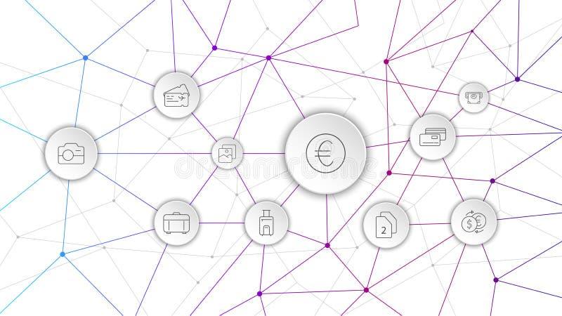 euro- ?cone da moeda de um centavo Do grupo da Web ilustração stock