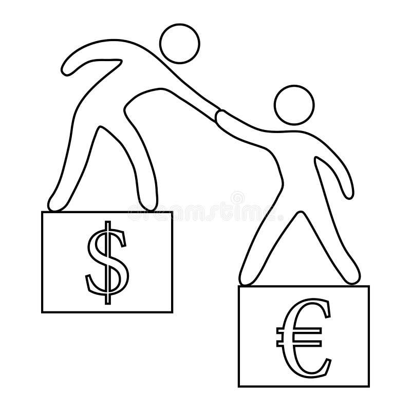 Euro contra el icono del dólar, estilo del esquema stock de ilustración