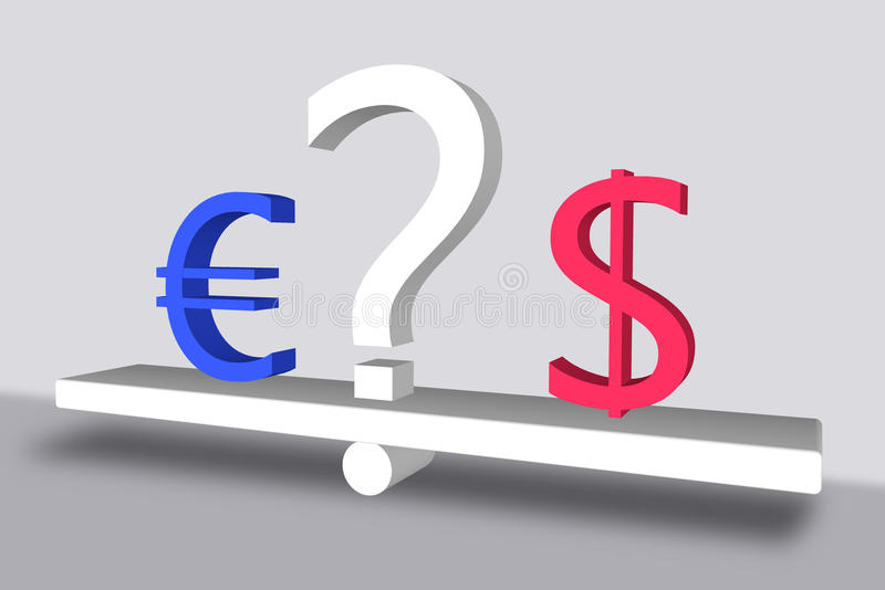 Euro contre le dollar avec un point d'interrogation illustration de vecteur