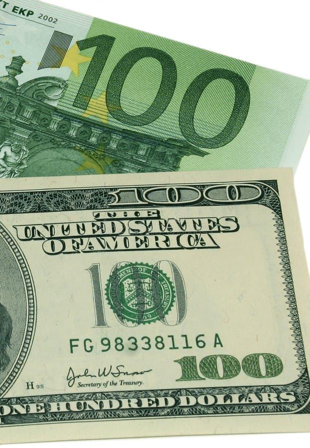 Euro contro il dollaro US fotografie stock