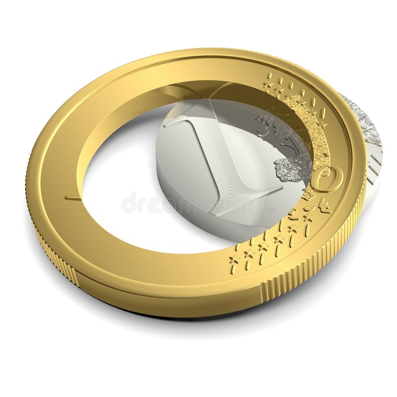 Euro coupé dans le mensonge de morceaux illustration stock