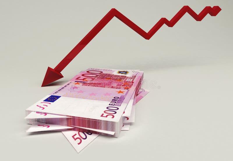 Euro- crise financeira foto de stock