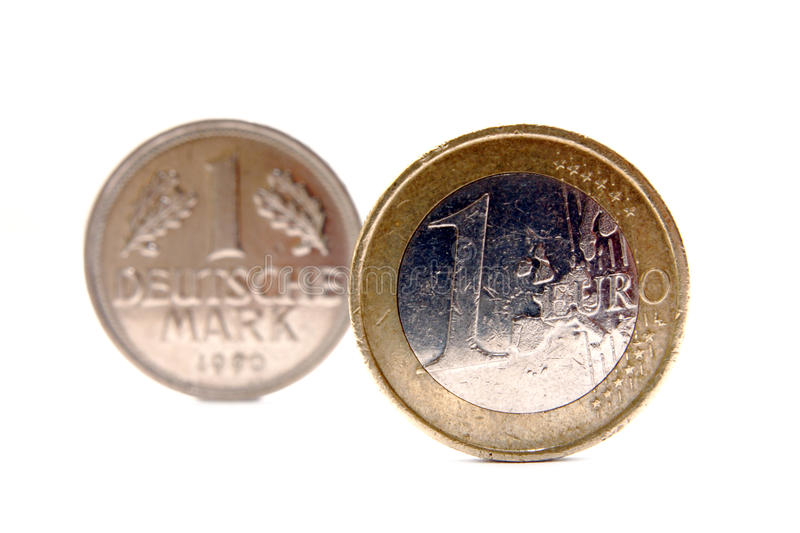 Euro crises and deutsche mark. Euro crises returns to Deutsche Mark currency isolated on white stock photography