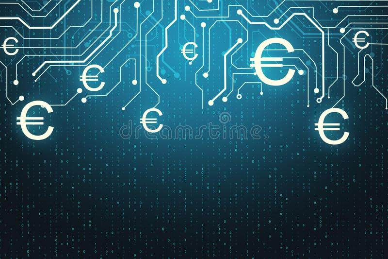 Euro and cryptocurrency concept. Abstract glowing money circuit and binary code background. Euro and cryptocurrency concept. 3D Rendering stock illustration