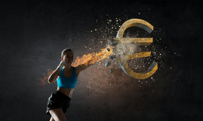 Euro currecydaling Gemengde media stock fotografie