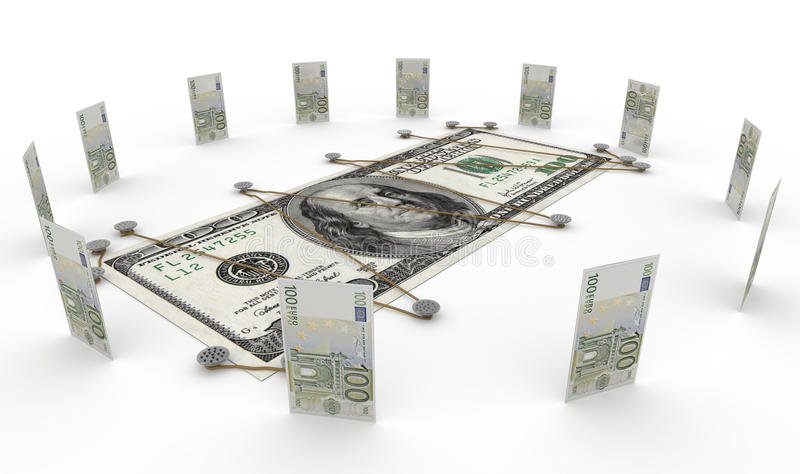 Euro Currency Against Dollar Money Concept Stock Photos