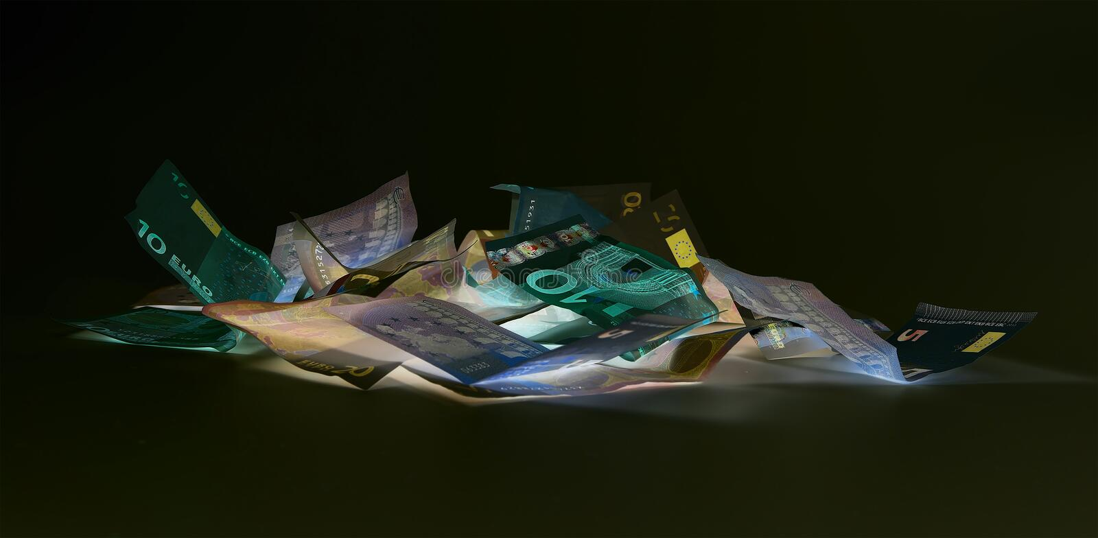 Euro currency (banknotes ) in UV light protection royalty free illustration