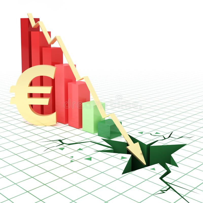 Euro currency bar graph going down royalty free illustration