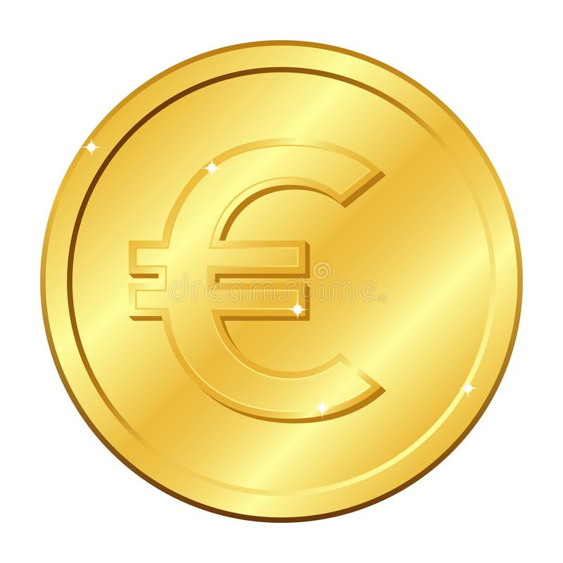Euro currency gold coin. Vector illustration isolated on white background. Editable elements and glare. stock image