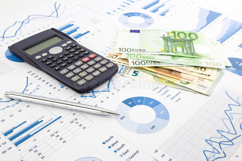 Euro currency on graphs, financial planning and expense report b stock photography