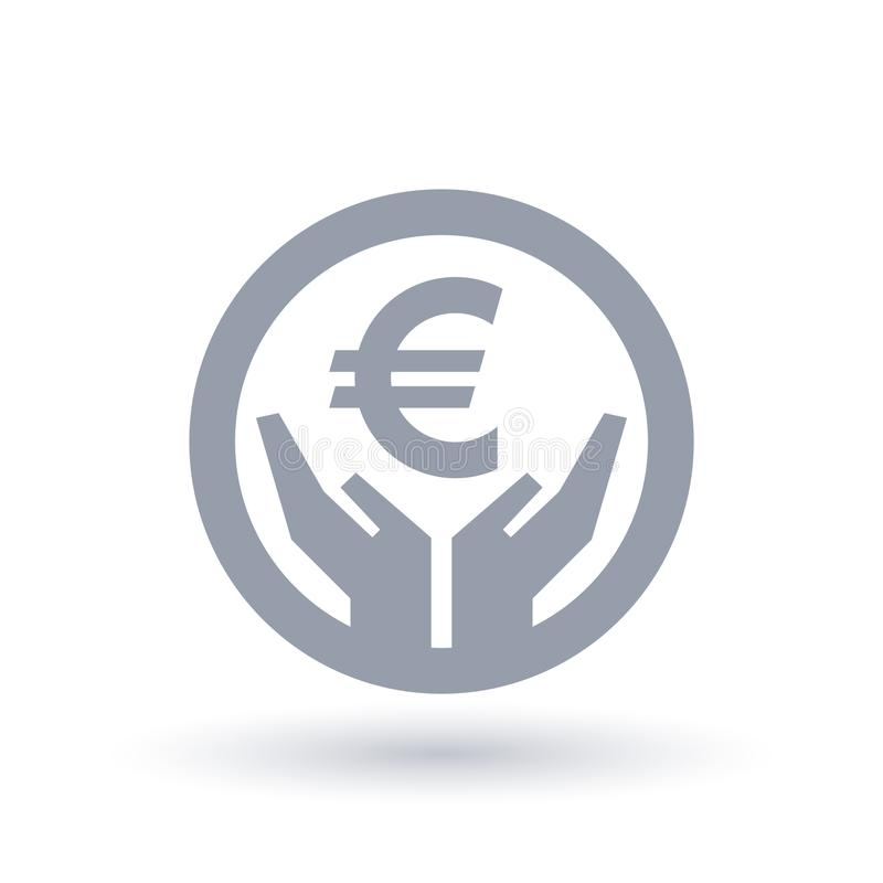 Euro currency hands icon - European money success symbol stock illustration