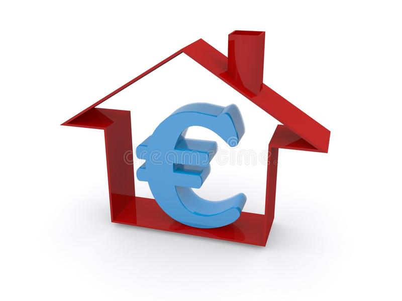 Euro currency in house. Illustration of house containing blue Euro currency sign, white background