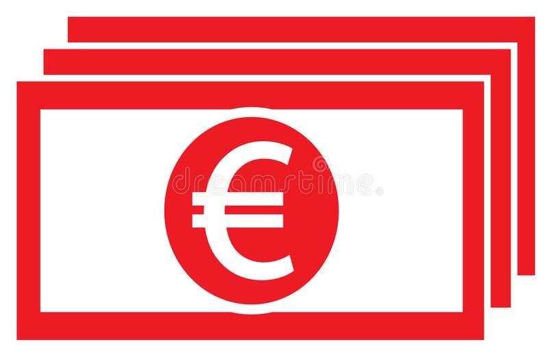 Euro Currency Icon Or Logo On A Bank Note Or Bill Stock