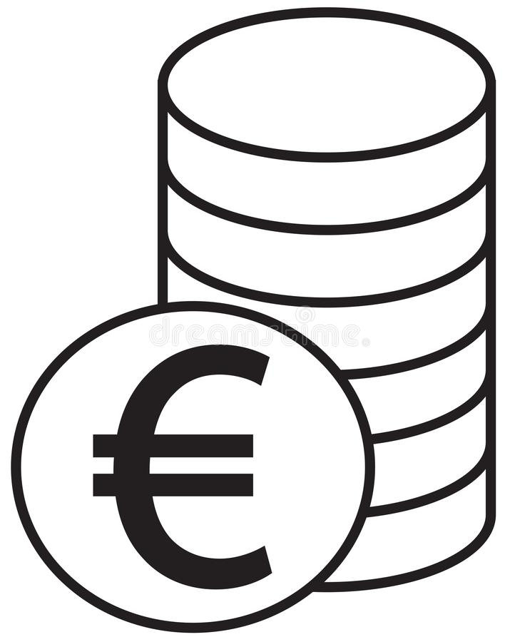 Euro Currency Icon Or Logo Over A Pile Of Coins Stack Stock