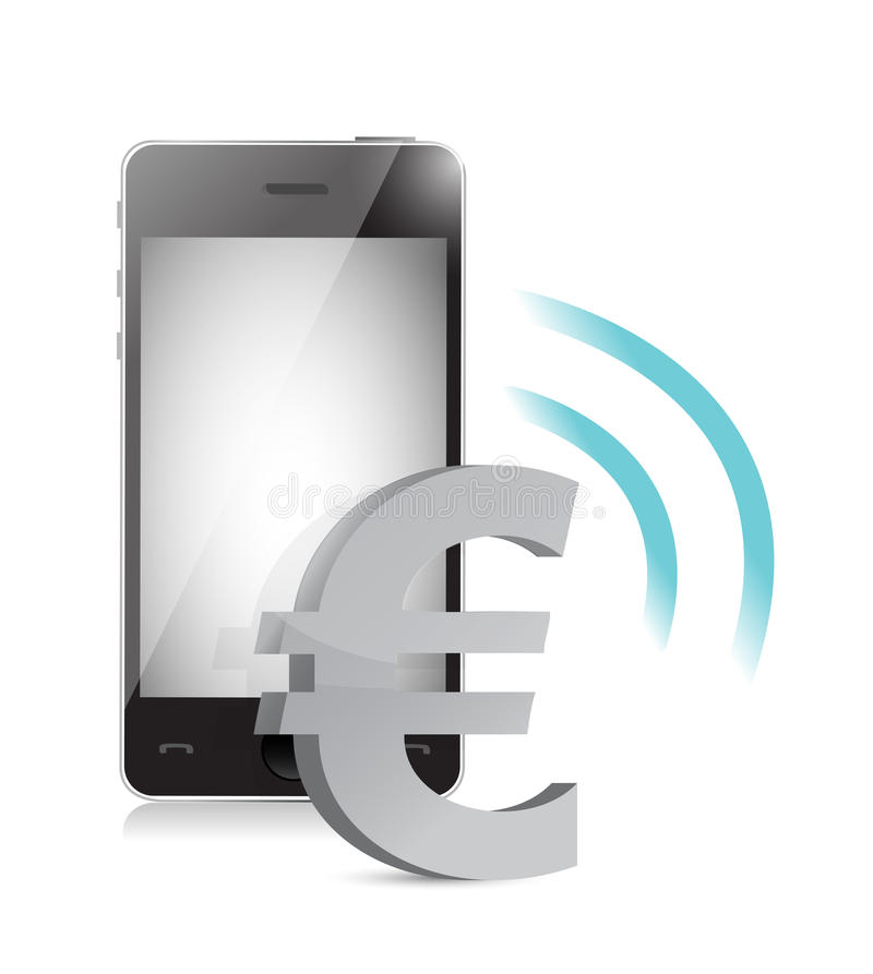 Download Euro Currency Management On A Mobile Phone Stock Illustration - Image: 32036862