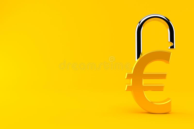 Euro currency with padlock royalty free illustration
