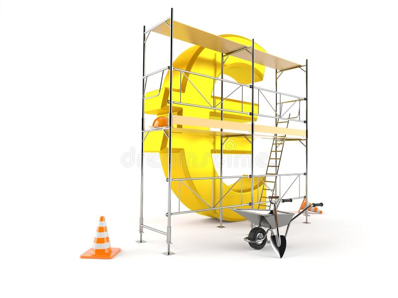 Euro currency with scaffolding royalty free illustration