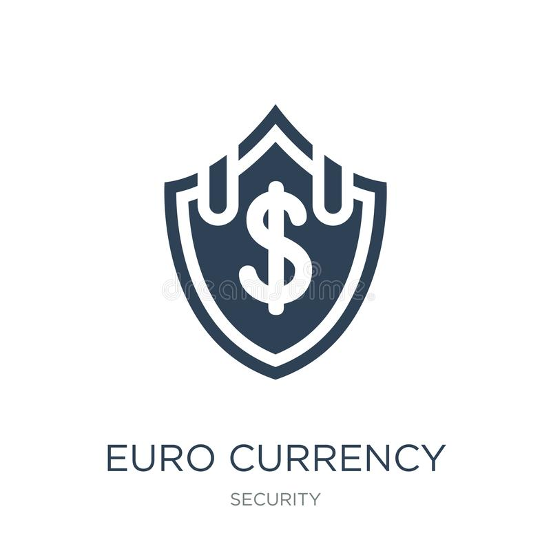 euro currency security shield icon in trendy design style. euro currency security shield icon isolated on white background. euro stock illustration