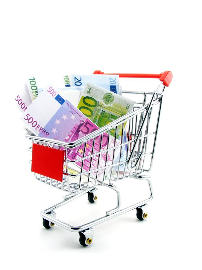 Download Euro Currency In Shopping Trolley Stock Image - Image of retail, miniature: 18066701