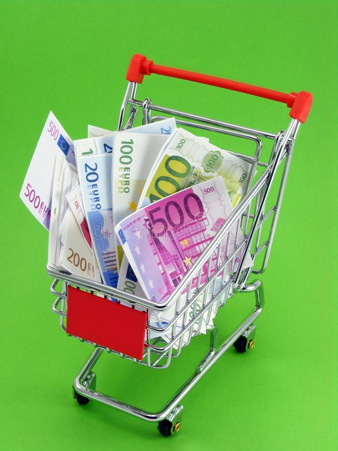 Download Euro Currency In Shopping Trolley Royalty Free Stock Photos - Image: 18066748