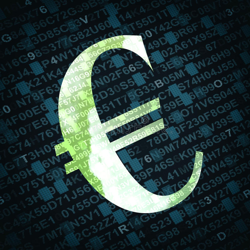 Euro currency sign with numbers and letters on background stock photos