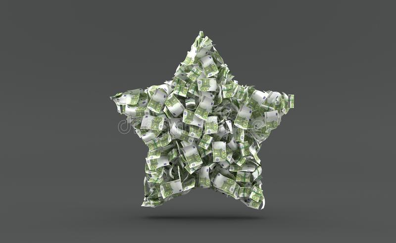 Euro currency in star shape vector illustration