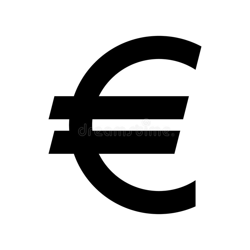 Euro currency symbol. Black silhouette euro sign. royalty free illustration
