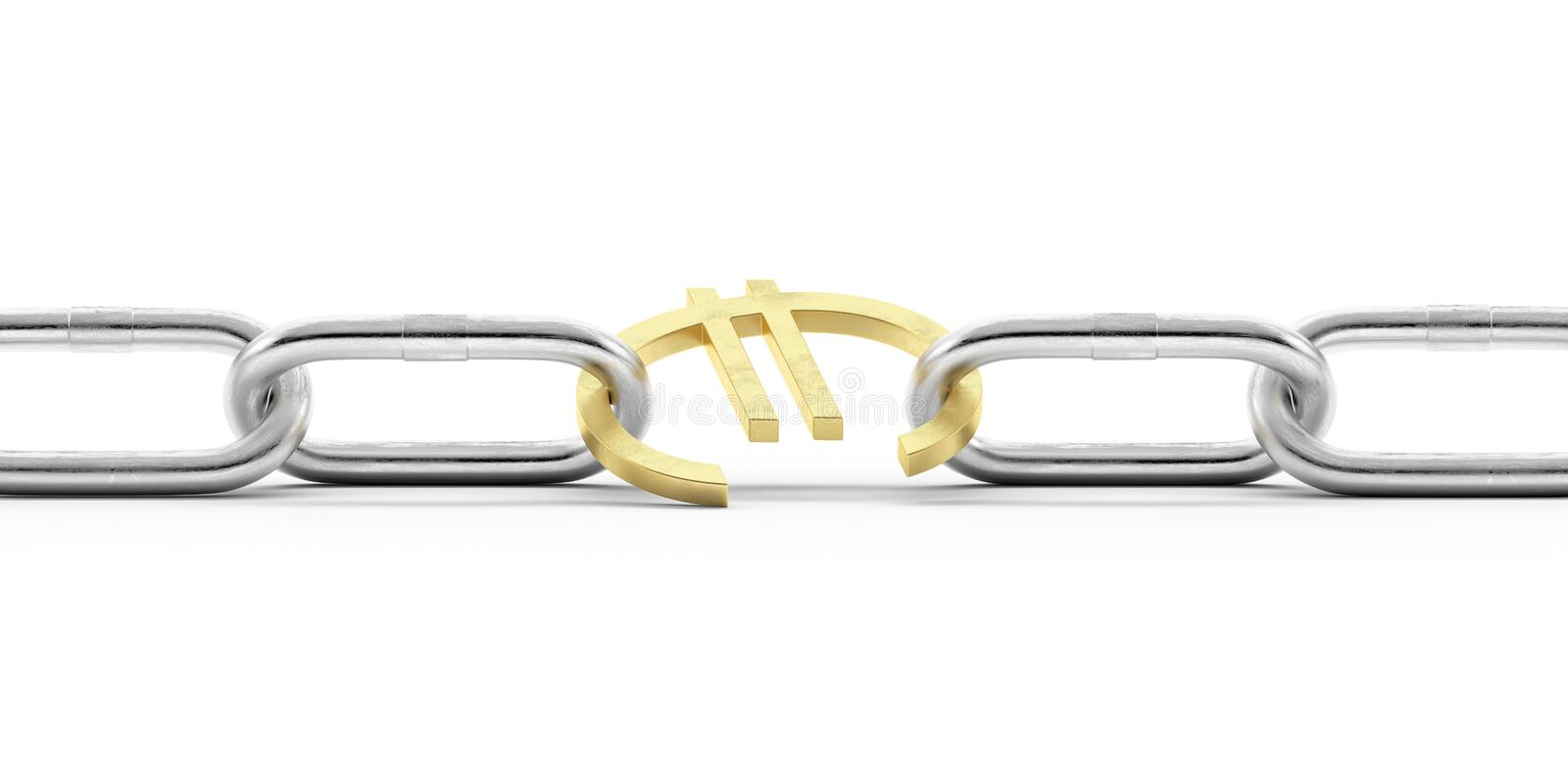 Euro Currency Symbol In Chains Stock Photo