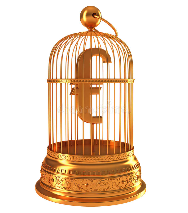 Euro Currency Symbol In Golden Birdcage Royalty Free Stock Photos